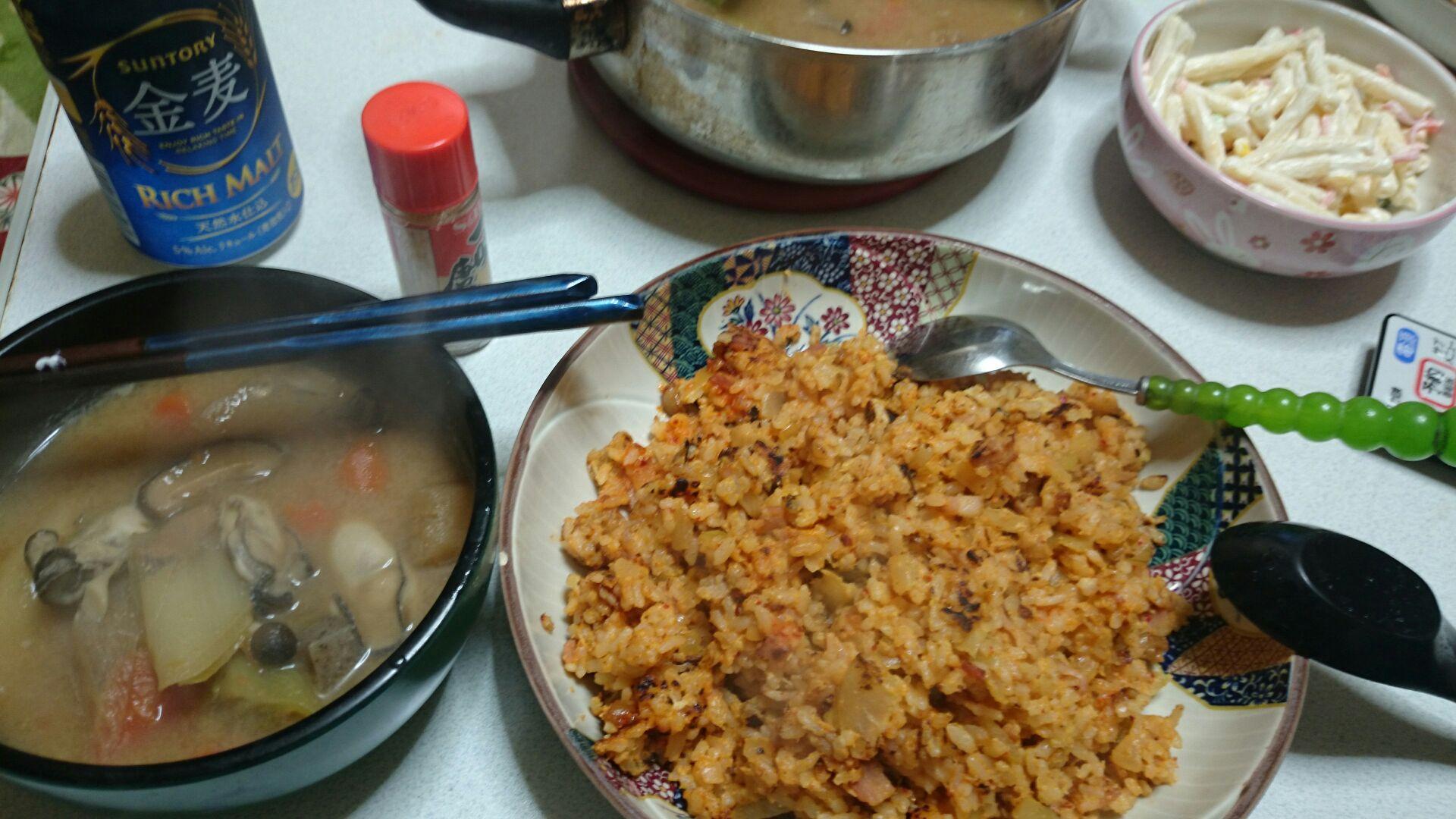 チャンジャ炒飯と牡蛎鍋